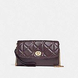 CHAIN CROSSBODY WITH QUILTING - LIGHT GOLD/OXBLOOD 1 - COACH F23816