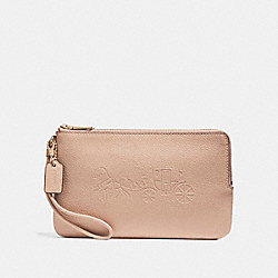 COACH DOUBLE ZIP WALLET WITH EMBOSSED HORSE AND CARRIAGE - IMITATION GOLD/NUDE PINK - F23818