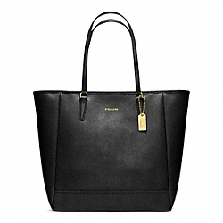 COACH SAFFIANO MEDIUM NORTH/SOUTH CITY TOTE - BRASS/BLACK - F23821