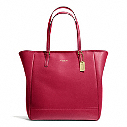 COACH SAFFIANO MEDIUM NORTH/SOUTH CITY TOTE - BRASS/SCARLET - F23821