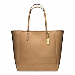 COACH SAFFIANO MEDIUM NORTH/SOUTH CITY TOTE - BRASS/TOFFEE - F23821