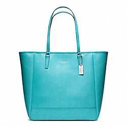 COACH SAFFIANO MEDIUM NORTH/SOUTH CITY TOTE - SILVER/ROBIN - F23821