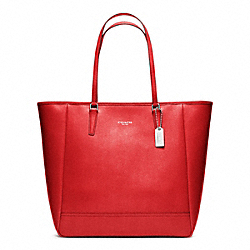 COACH SAFFIANO MEDIUM NORTH/SOUTH CITY TOTE - SILVER/VERMILLION - F23821