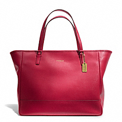 COACH SAFFIANO LEATHER LARGE CITY TOTE - BRASS/SCARLET - F23822