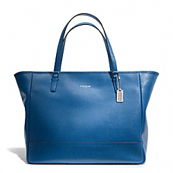 COACH SAFFIANO LEATHER LARGE CITY TOTE - SILVER/COBALT - F23822