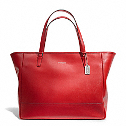 COACH SAFFIANO LARGE CITY TOTE - SILVER/VERMILLION - F23822