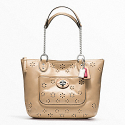 POPPY EYELET LEATHER SMALL CHAIN TOTE - f23842 - 15153