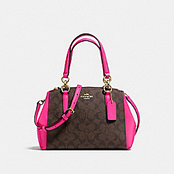 COACH MINI CHRISTIE CARRYALL IN SIGNATURE COATED CANVAS - IMITATION GOLD/BROWN - F23857