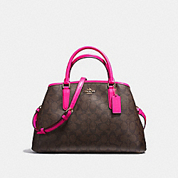 COACH SMALL MARGOT CARRYALL IN SIGNATURE COATED CANVAS - IMITATION GOLD/BROWN - F23859