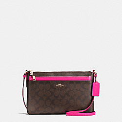 COACH EAST/WEST CROSSBODY WITH POP-UP POUCH IN SIGNATURE COATED CANVAS - IMITATION GOLD/BROWN - F23865