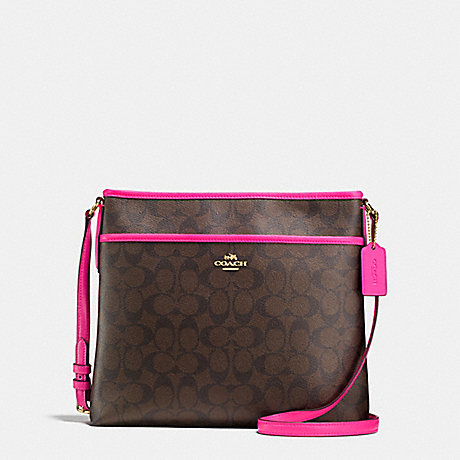 COACH f23866 FILE BAG IN SIGNATURE COATED CANVAS IMITATION GOLD/BROWN