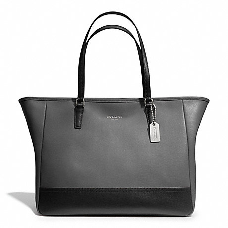 COACH f23884 SAFFIANO MEDIUM COLORBLOCK CITY TOTE