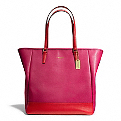 COACH COLORBLOCK NORTH/SOUTH CITY TOTE - BRASS/CRANBERRY/VERMILLION - F23891