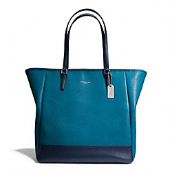 COACH COLORBLOCK NORTH/SOUTH CITY TOTE - SILVER/DARK PLUME/NAVY - F23891