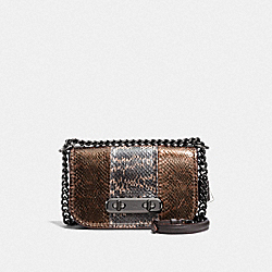 COACH SWAGGER SHOULDER BAG 20 IN METALLIC STRIPED MIXED SNAKESKIN - DK/METALLIC MULTI - COACH F23894