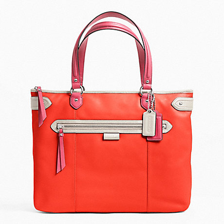 COACH f23922 DAISY SPECTATOR LEATHER EMMA TOTE SILVER/VERMILLION MULTICOLOR