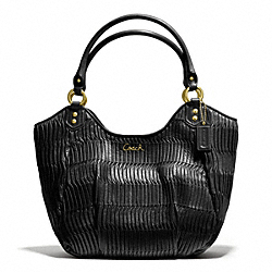 COACH ASHLEY GATHERED LEATHER SHOULDER TOTE - BRASS/BLACK - F23928