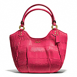 COACH ASHLEY GATHERED LEATHER SHOULDER TOTE - BRASS/RASPBERRY - F23928