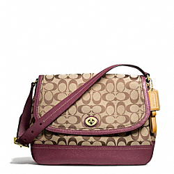 COACH PARK SIGNATURE FLAP BAG - BRASS/KHAKI/BURGUNDY - F23933