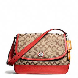 COACH PARK SIGNATURE FLAP BAG - SILVER/KHAKI/VERMILLION - F23933