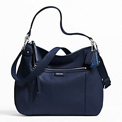 COACH DAISY LEATHER CONVERTIBLE HOBO - SILVER/MIDNIGHT NAVY - F23937