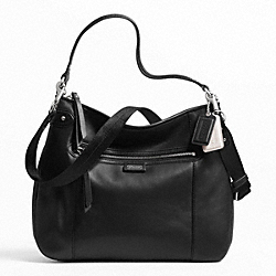 COACH DAISY LEATHER CONVERTIBLE HOBO - SILVER/BLACK - F23937