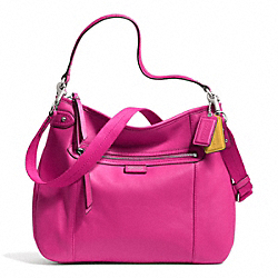 COACH DAISY LEATHER CONVERTIBLE HOBO - SILVER/BRIGHT MAGENTA - F23937