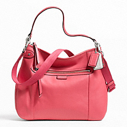 COACH DAISY LEATHER CONVERTIBLE HOBO - SILVER/CORAL - F23937