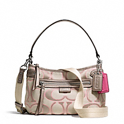 COACH DAISY OUTLINE SIGNATURE METALLIC CROSSBODY - SILVER/LIGHT KHAKI/GOLD - F23946
