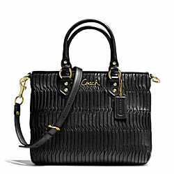 COACH ASHLEY GATHERED LEATHER MINI TOTE - BRASS/BLACK - F23972