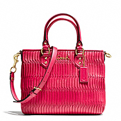 COACH ASHLEY GATHERED LEATHER MINI TOTE - BRASS/RASPBERRY - F23972