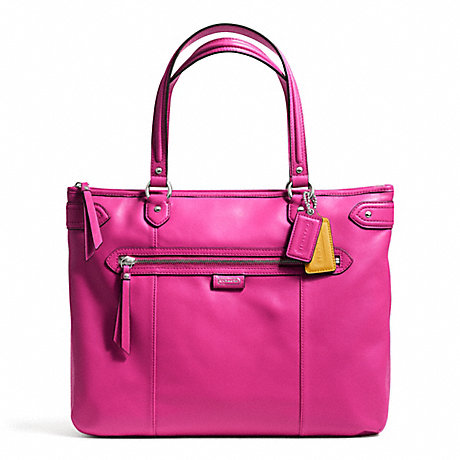 COACH f23973 DAISY LEATHER EMMA TOTE SILVER/BRIGHT MAGENTA