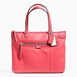 COACH DAISY LEATHER EMMA TOTE - SILVER/CORAL - F23973