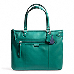 COACH DAISY LEATHER EMMA TOTE - SILVER/JADE - F23973
