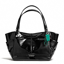 COACH PARK PATENT CARRIE TOTE - SILVER/BLACK - F23979