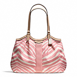 COACH SIGNATURE STRIPE ZEBRA PRINT DEVIN SHOULDER BAG - ONE COLOR - F24022