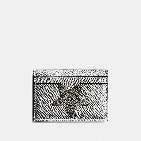COACH STAR FLAT CARD CASE IN METALLIC LEATHER - SILVER/MULTICOLOR 1 - f24184