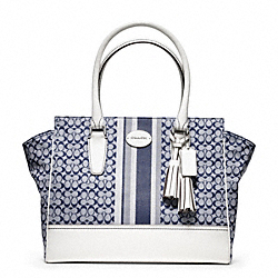 COACH SIGNATURE STRIPE MEDIUM CANDACE CARRYALL - ONE COLOR - F24206