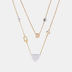 STARDUST SIGNATURE DOUBLE LAYER NECKLACE - GOLD/MULTI - COACH F24219