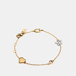 COACH STARDUST SIGNATURE CHAIN BRACELET - GOLD/MULTI - F24234