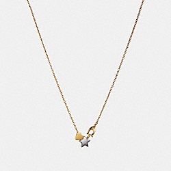 COACH STARDUST SIGNATURE NECKLACE - GOLD/MULTI - F24236