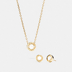 COACH OPEN CIRCLE PEARL NECKLACE AND EARRING SET - GOLD - F24254