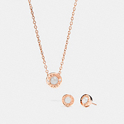 COACH OPEN CIRCLE PEARL NECKLACE AND EARRING SET - ROSEGOLD - F24254