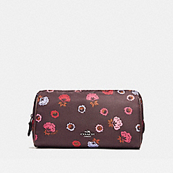 COACH COSMETIC CASE 22 WITH PRIMROSE FLORAL PRINT - BLACK ANTIQUE NICKEL/OXBLOOD MULTI - F24283