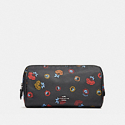 COSMETIC CASE 22 WITH PRIMROSE FLORAL PRINT - ANTIQUE NICKEL/BLACK MULTI - COACH F24283