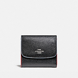 SMALL WALLET WITH EDGEPAINT - SILVER/BLACK MULTI - COACH F24286