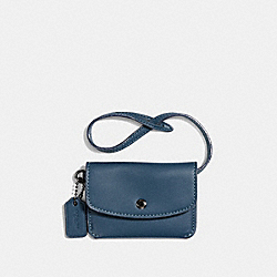 COACH CARD POUCH - DENIM/DARK GUNMETAL - F24308