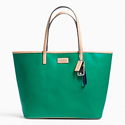 COACH METRO SAFFIANO LEATHER TOTE - SILVER/BRIGHT JADE - F24341