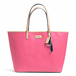 PARK METRO TOTE IN LEATHER - f24341 - SILVER/POMEGRANATE