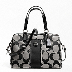 COACH SIGNATURE STRIPE SATCHEL - SILVER/BLACK/WHITE/BLACK - F24364